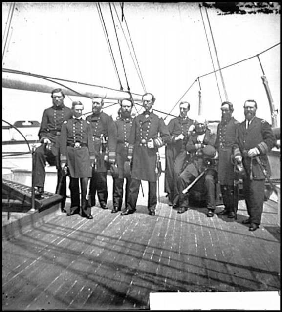 [Charleston Harbor, S.C. Rear Admiral John A. Dahlgren (fifth from left) and staff aboard U.S.S. Pawnee]