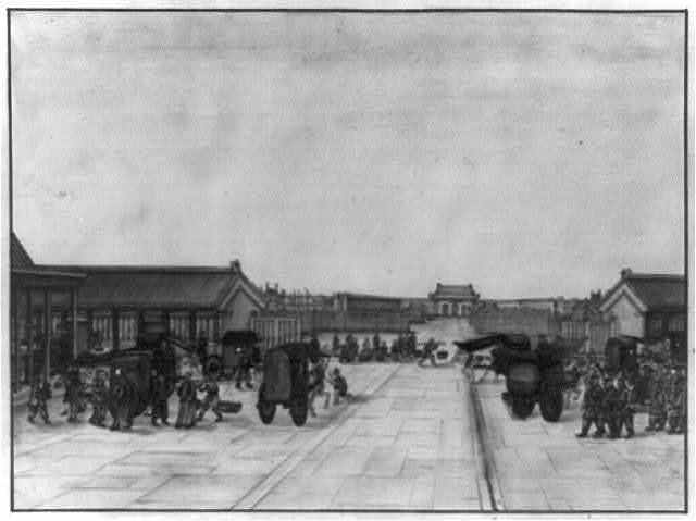 [Chinese bazaar in plaza in front of a Buddhist temple, with people arriving by carriage, cart, and on foot]