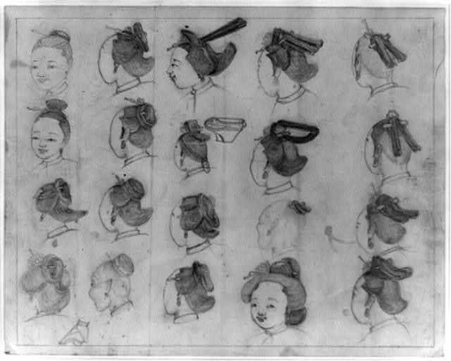 [Chinese women's hairstyles and faces; also shows sketch of a bound foot]
