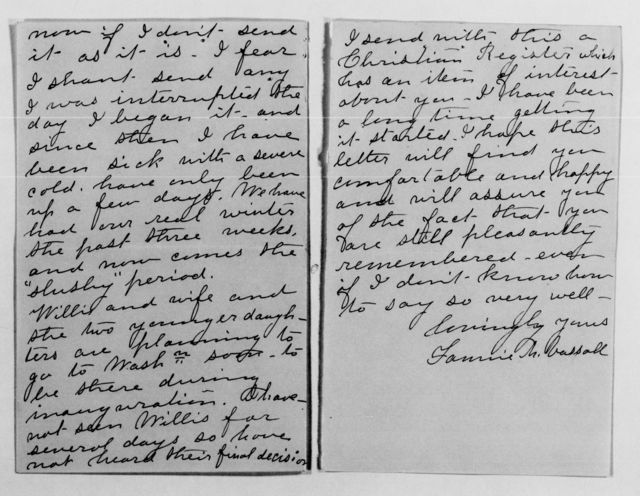Clara Barton Papers: Family Papers: Vassall, Frances Childs, 1860-1903