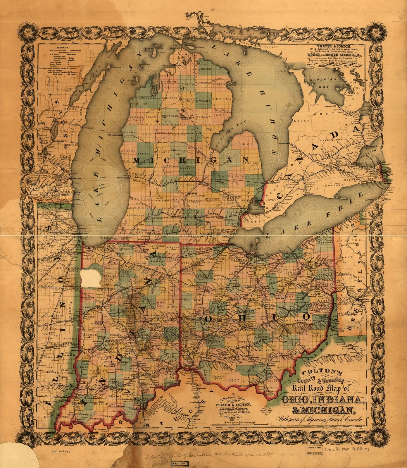 Colton's county & township rail road map of Ohio, Indiana, & Michigan, with parts of adjoining states & Canada; printed by Lang & Laing, 1859.