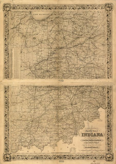 Colton's map of the state of Indiana, compiled from the United States surveys & other authentic sources, exhibiting sections, fractional sections, railroads, canals &c.