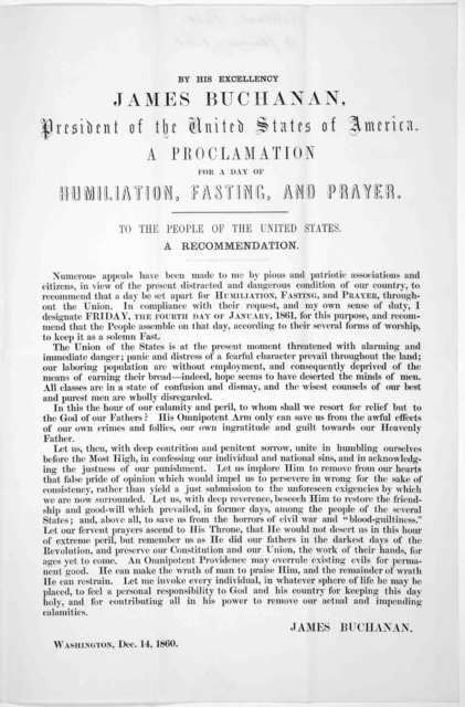 Commonwealth of Massachusetts. By His Excellency Natuaniel P. Banks. Governor. A proclamation ... has designated Friday, the fourth day of January next, as a day of humiliation, fasting and prayer ... Given at the Council Chamber, this twenty-fi