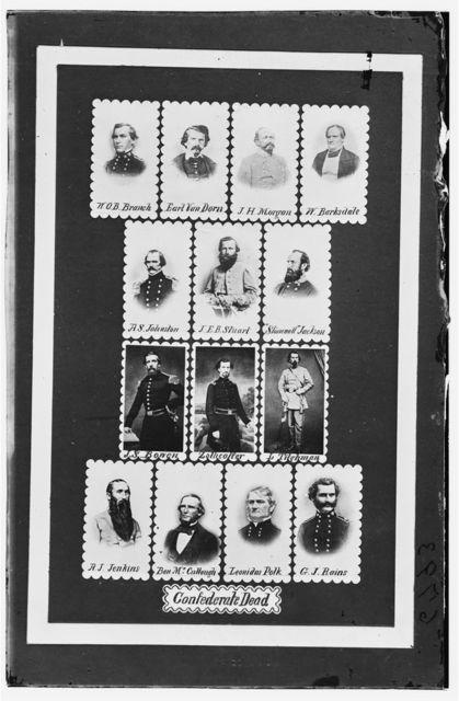 """Confederate Dead: W.O.B. Branch, Earl Van Dorn, J.H. Morgan, W. Barksdale, A.S. Johnston, J.E.B. Stuart, """"Stonewall"""" Jackson, J.S. Bowen, Zollicoffer, L. Tilghman, A.J. Jenkins, Ben McCullough, Leonidas Polk, and G.J. Rains"""