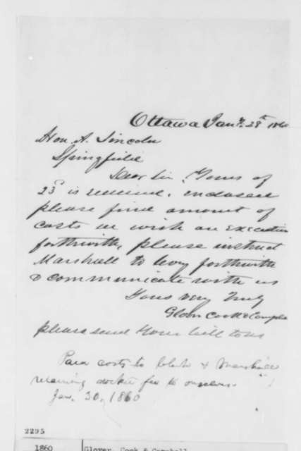 Cook & Campbell Glover to Abraham Lincoln, Saturday, January 28, 1860  (Request for Bill; endorsed by Abraham Lincoln)
