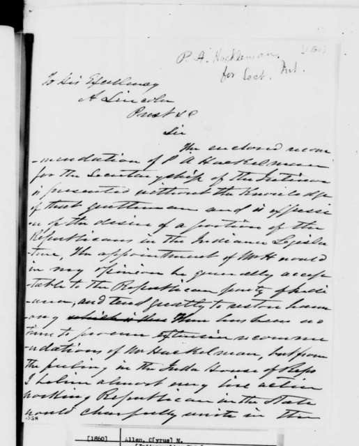 Cyrus M. Allen to Abraham Lincoln,  1860  (Recommendation)