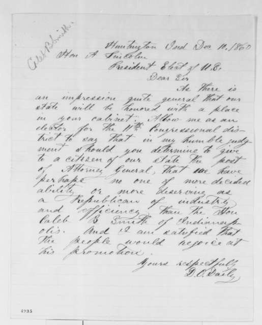 D. O. Daily to Abraham Lincoln, Monday, December 10, 1860  (Wants Caleb Smith in cabinet)
