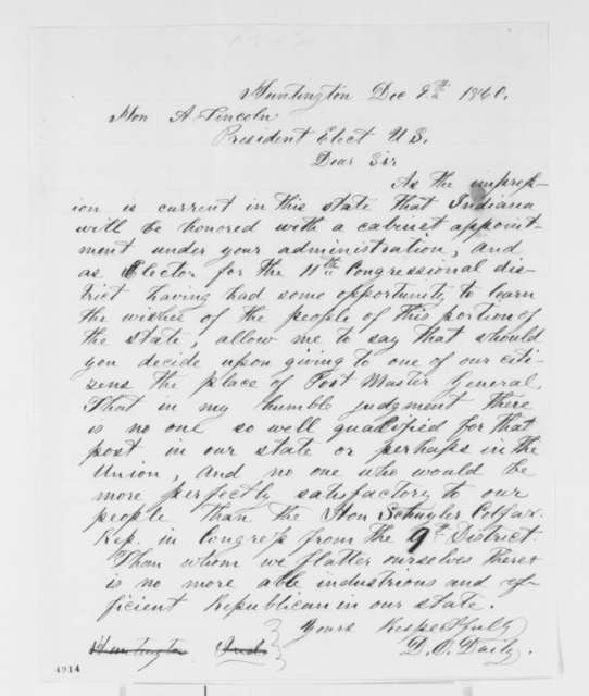 D. O. Daily to Abraham Lincoln, Sunday, December 09, 1860  (Wants Colfax in cabinet)
