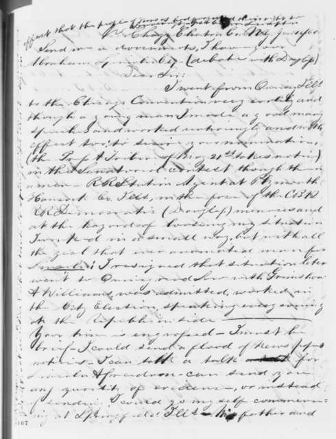 Daniel W. Lawrence to Abraham Lincoln, Saturday, June 16, 1860  (Wants to work for campaign)