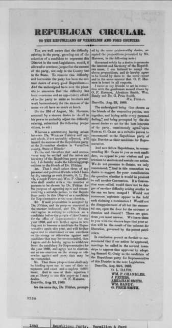 Danville Illinois Republican Party, Friday, August 24, 1860  (Circular Letter)