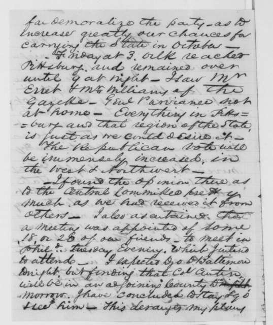 David Davis to Abraham Lincoln, Sunday, August 05, 1860  (Political developments in Indiana and Pennsylvania)