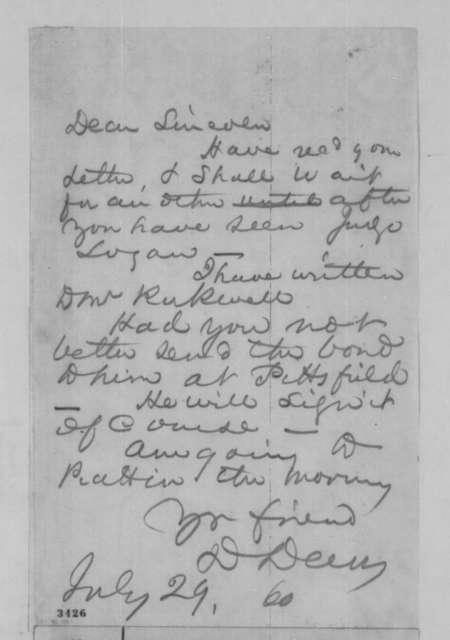 David Davis to Abraham Lincoln, Sunday, July 29, 1860  (Legal business)