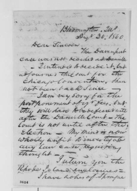 David Davis to Abraham Lincoln, Thursday, August 30, 1860  (Legal business and political affairs)