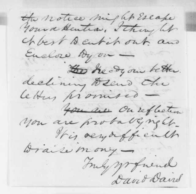 David Davis to Abraham Lincoln, Tuesday, June 05, 1860  (Concern with unauthorized Lincoln biography)