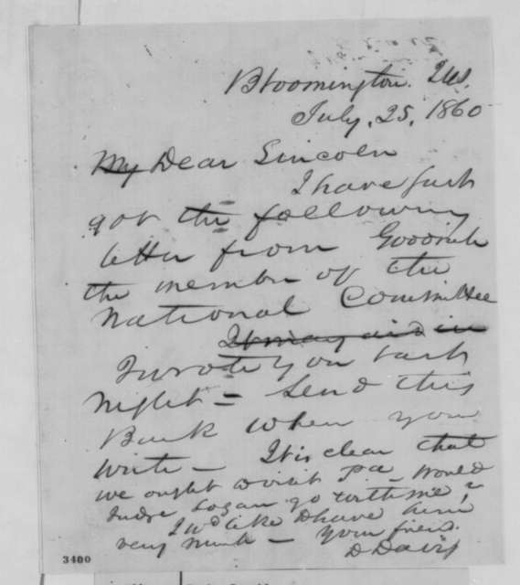 David Davis to Abraham Lincoln, Wednesday, July 25, 1860  (Cover letter)