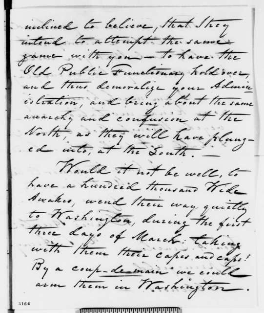 David Hunter to Abraham Lincoln, Tuesday, December 18, 1860  (Fears coup against Lincoln)