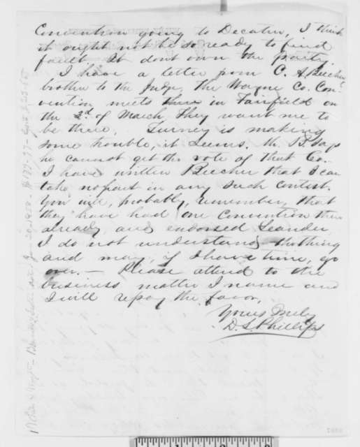 David L. Phillips to Abraham Lincoln, Monday, February 13, 1860
