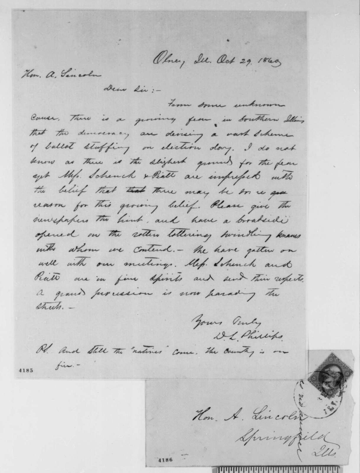 David L. Phillips to Abraham Lincoln, Monday, October 29, 1860  (Warns of possible Democratic treachery in Southern Illinois)