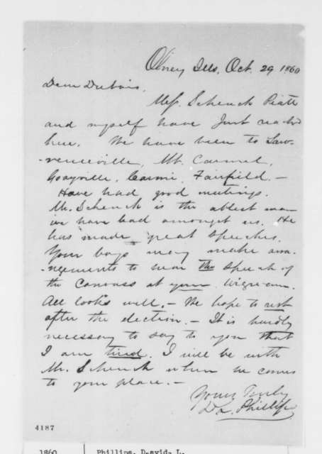David L. Phillips to Jesse K . Dubois, Monday, October 29, 1860  (Efforts in Illinois campaign)