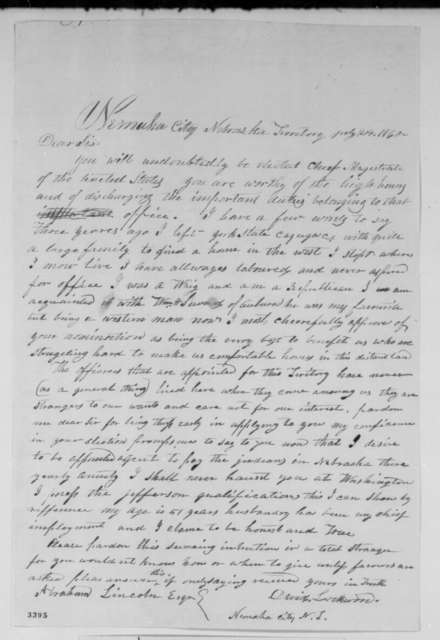 David Lockwood to Abraham Lincoln, Tuesday, July 24, 1860  (Wants to be Indian agent in Nebraska Territory)