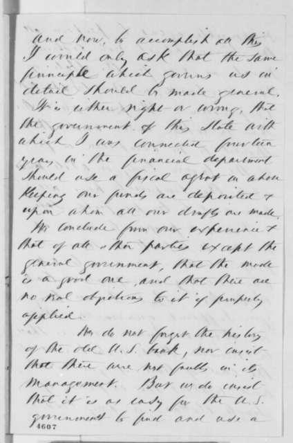 David Wilder Jr. to Abraham Lincoln, Thursday, November 22, 1860  (Sub treasury plan)