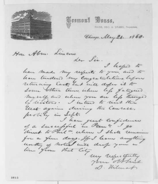 David Wilmot to Abraham Lincoln, Monday, May 21, 1860  (Congratulations)
