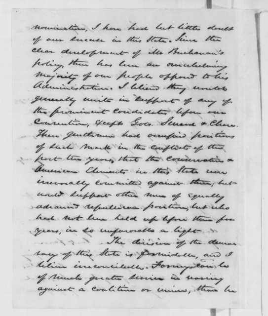 David Wilmot to Abraham Lincoln, Wednesday, July 11, 1860  (Prospects in Pennsylvania)