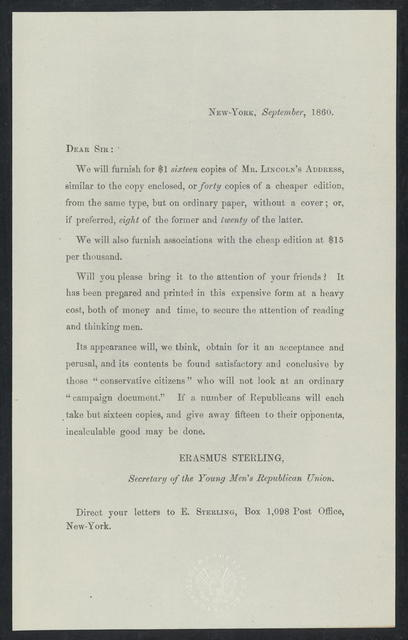 Dear sir: We will furnish for $1 sixteen copies of Mr. Lincoln's address similar to the copy enclosed.