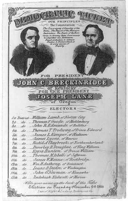 Democratic Ticket/ for President, John C. Breckinridge...[and] Joseph Lane