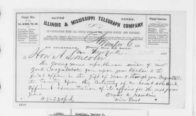 Dexter A. Hawkins to Abraham Lincoln, Tuesday, November 06, 1860  (Telegram offering congratulations)