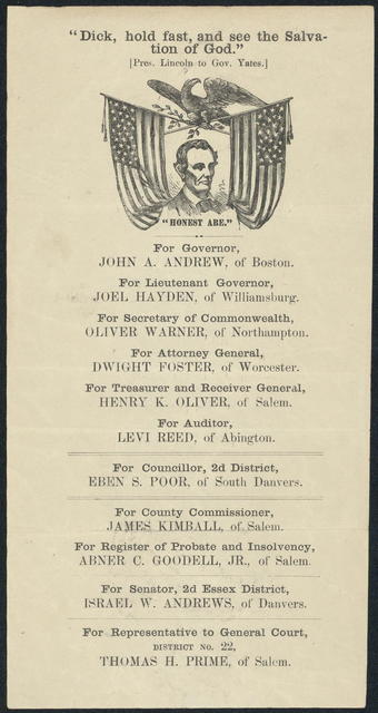 """Dick, hold fast, and see the salvation of god."" [Massachusetts campaign ticket]"