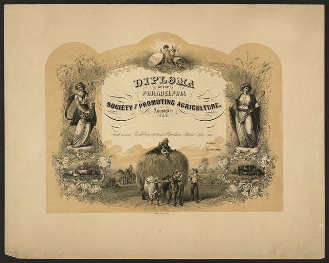 Diploma of the Philadelphia Society for Promoting Agriculture, awarded to [blank] at the annual exhibition held at Powelton, Philada. Sept. 1860 / Schmolze 1860 ; J. Queen ; P.S. Duval & Son. Lith. Philada.