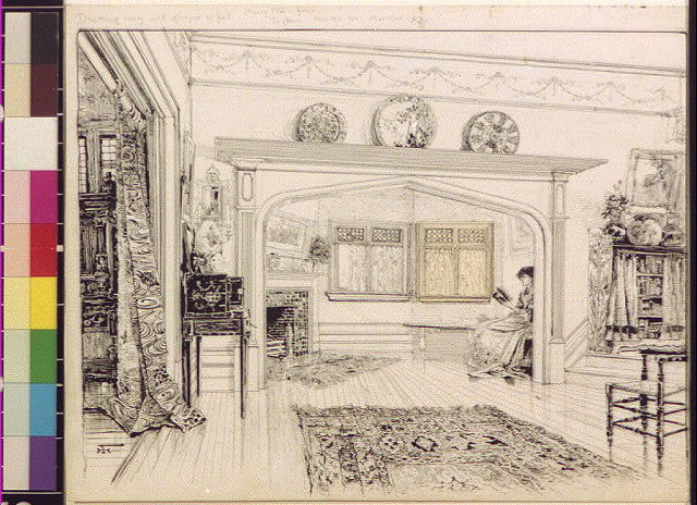 [Drawing room and glimpse of hall, the Cedars]