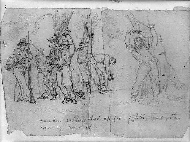 Drunken soldiers tied up for fighting and other unruly conduct