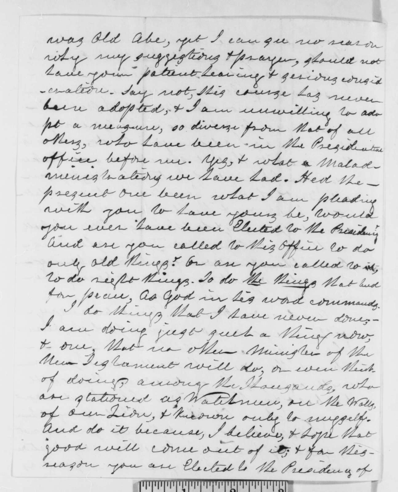 E. Hart to Abraham Lincoln, Sunday, November 04, 1860  (Advice on cabinet appointments)