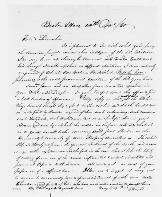 E. Wright to Abraham Lincoln, Friday, December 14, 1860  (New England wants Lincoln to stand firm)