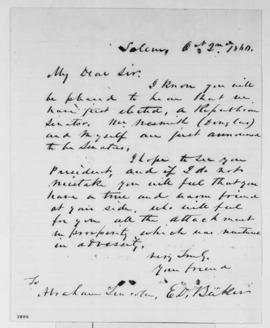 Edward D. Baker to Abraham Lincoln, Tuesday, October 02, 1860  (Elected as Senator from Oregon)