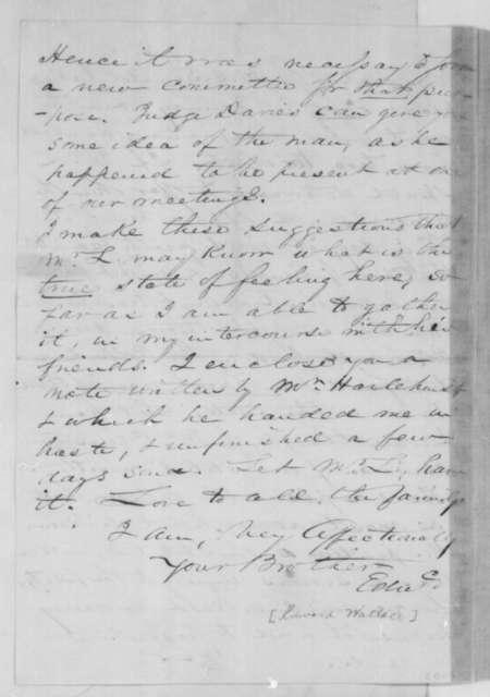 Edward Wallace to William Wallace, Thursday, November 22, 1860  (Wants Cameron in cabinet)