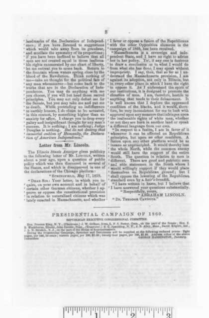 Elbridge G. Spaulding, Thursday, May 17, 1860  (Printed pamphlet)