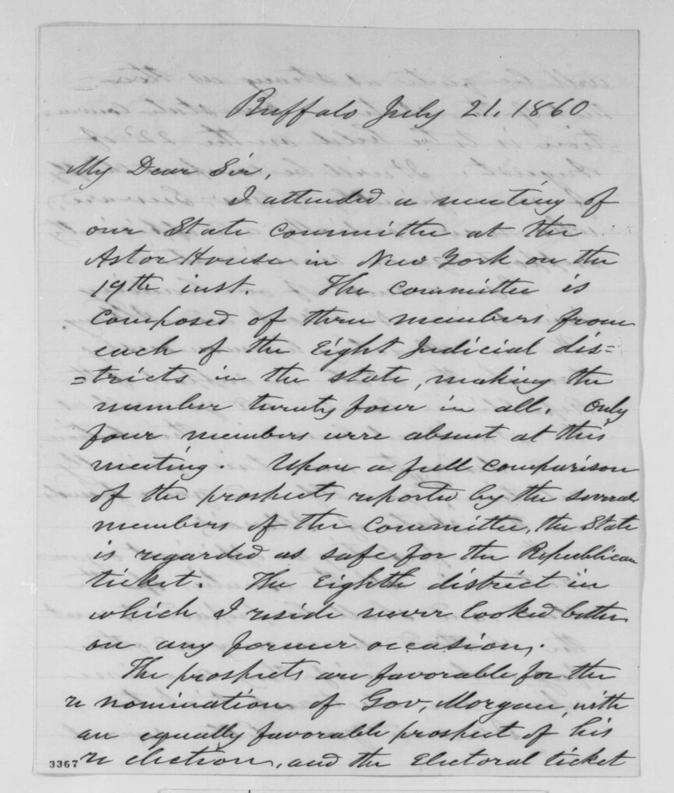 Elbridge G. Spaulding to Abraham Lincoln, Saturday, July 21, 1860  (New York politics)