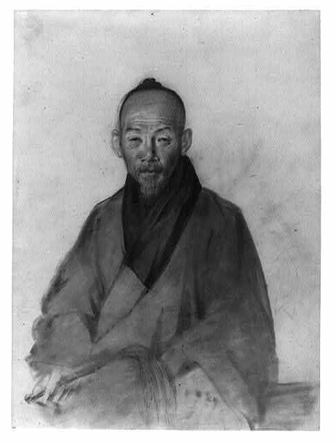 [Elderly Chinese man, possibly a scholar, three-quarter length portrait, seated, facing front, holding pipe in right hand; includes Chinese language characters on back]