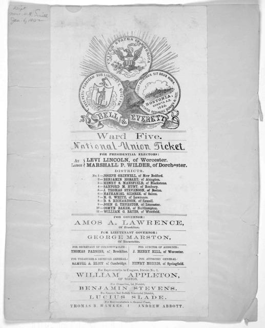 [Election posters. Ward 5, Boston. 1860].