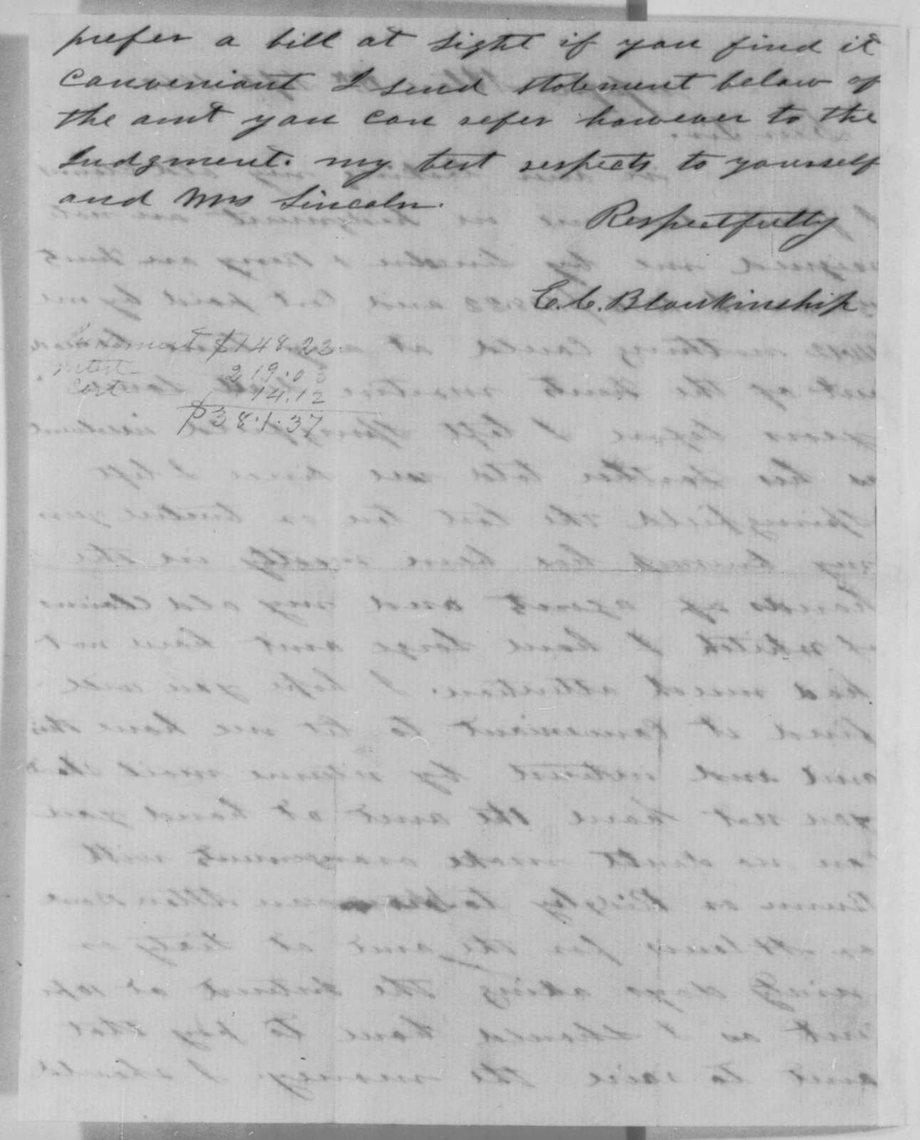 Eli C. Blankinship to Abraham Lincoln, Wednesday, September 12, 1860  (Claims Lincoln owes him money)