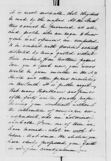 Elizabeth F. Ellet to Abraham Lincoln, Monday, December 31, 1860  (Invites Lincoln to speak in New York)