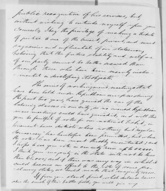 Elliott F. Shepard to Abraham Lincoln, Monday, October 15, 1860  (New York politics)