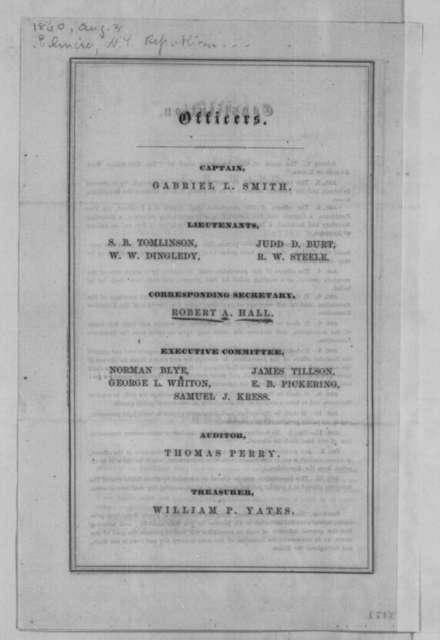Elmira New York Republican Wide-Awakes, Friday, August 03, 1860  (Leaflet)