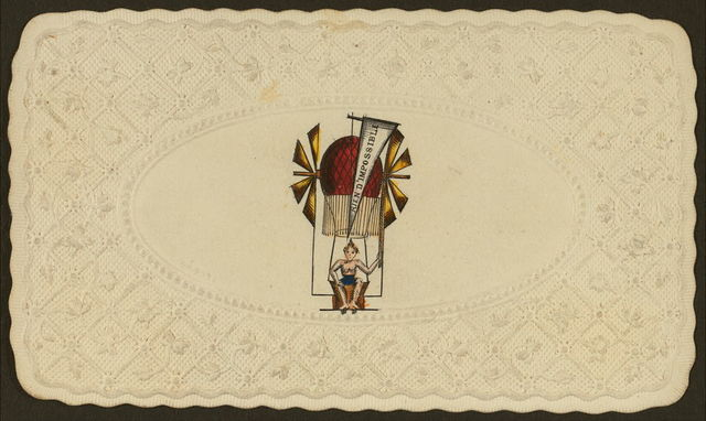 """[Embossed card shows balloon labelled """"rien d'impossible"""" ascending with passenger]"""