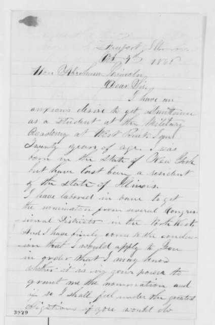 Erasmus D. Gaines to Abraham Lincoln, Thursday, October 04, 1860  (Wants to attend West Point)