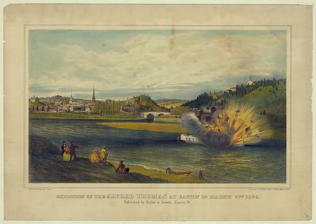 Explosion of the Alfred Thomas at Easton Pa. March 6th 1860 / sketch from nature by J. Queen ; printed in oil colors by P.S. Duval & Son, Phila.