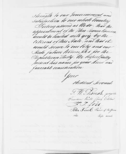 F. W. Thomas, et al. to Abraham Lincoln, Tuesday, December 04, 1860  (German-American newspaper urges appointment of Cameron and adherence to Chicago Platform)